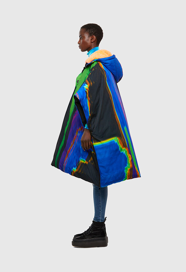 W-MARALI-B, Black/Green - Winter Jackets