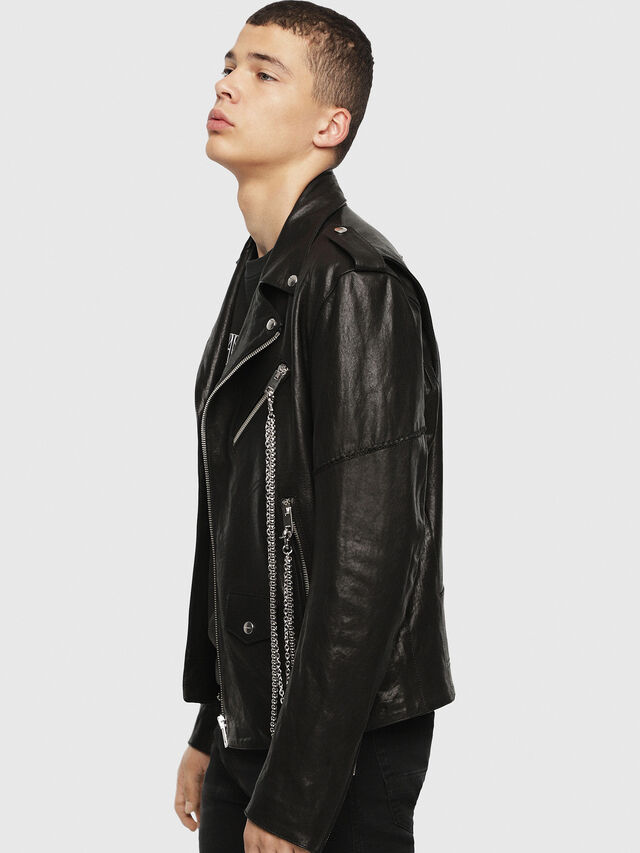 Diesel - SE-LEANDRO, Black Leather - Leather jackets - Image 3