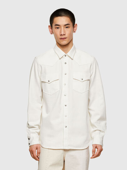 Diesel - D-EAST-P1, White - Denim Shirts - Image 1