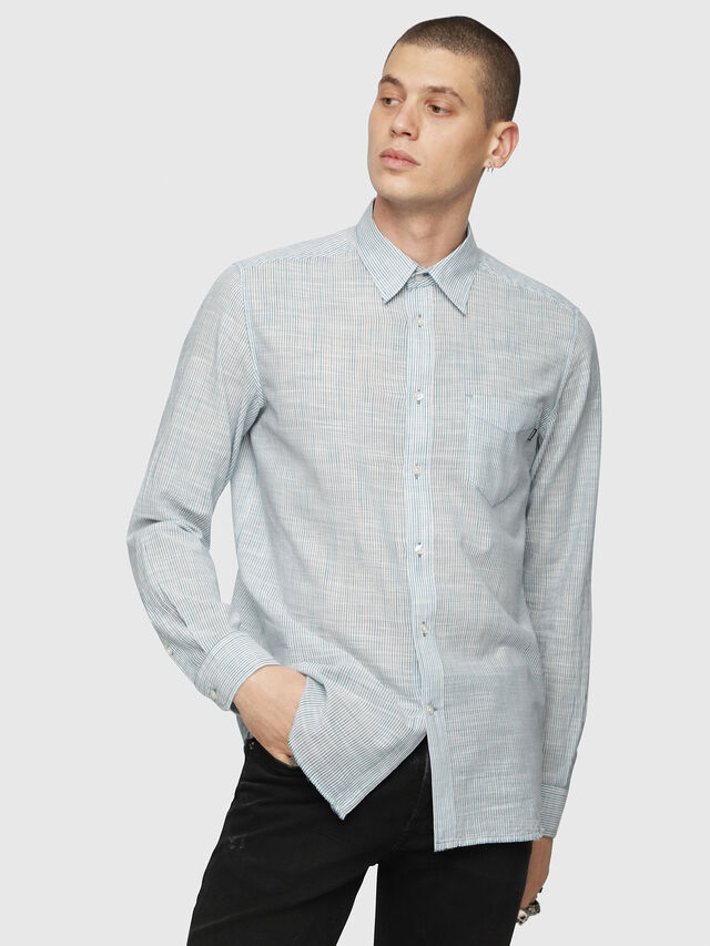 Diesel - S-STRYPED-NEW, Blue/White - Shirts - Image 1