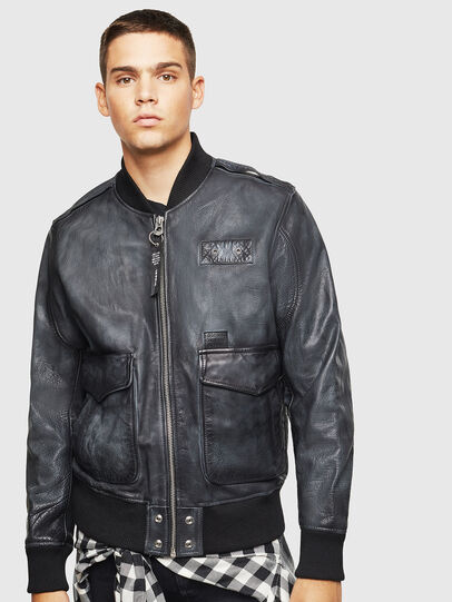Diesel - L-OIUKI, Black - Leather jackets - Image 1