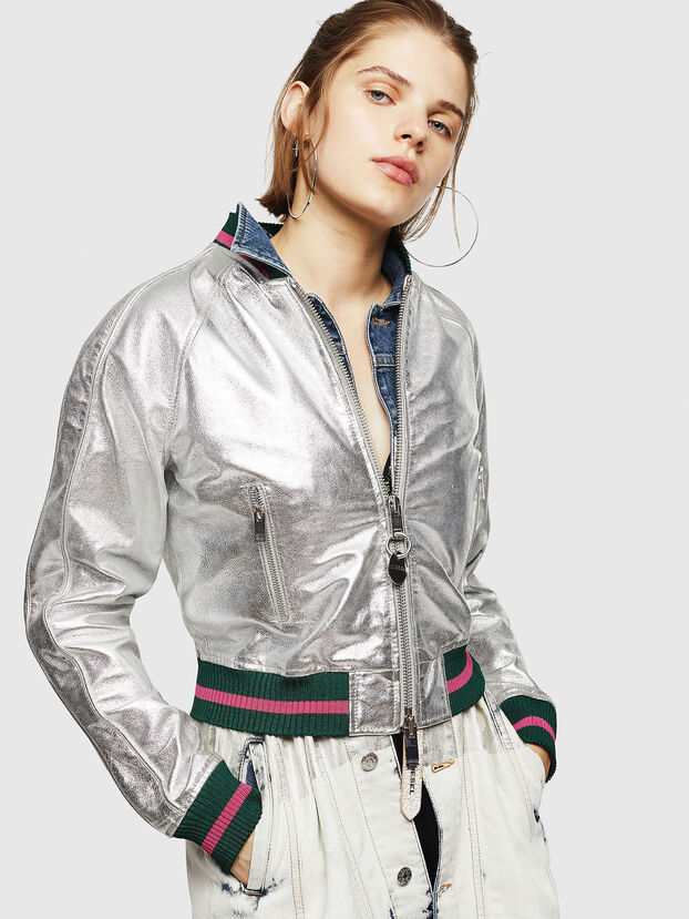 L-NOTE, Silver - Leather jackets