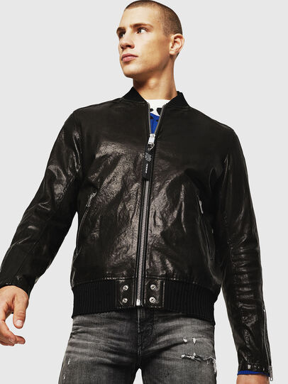 Diesel - L-DAVIDOV, Black - Leather jackets - Image 1
