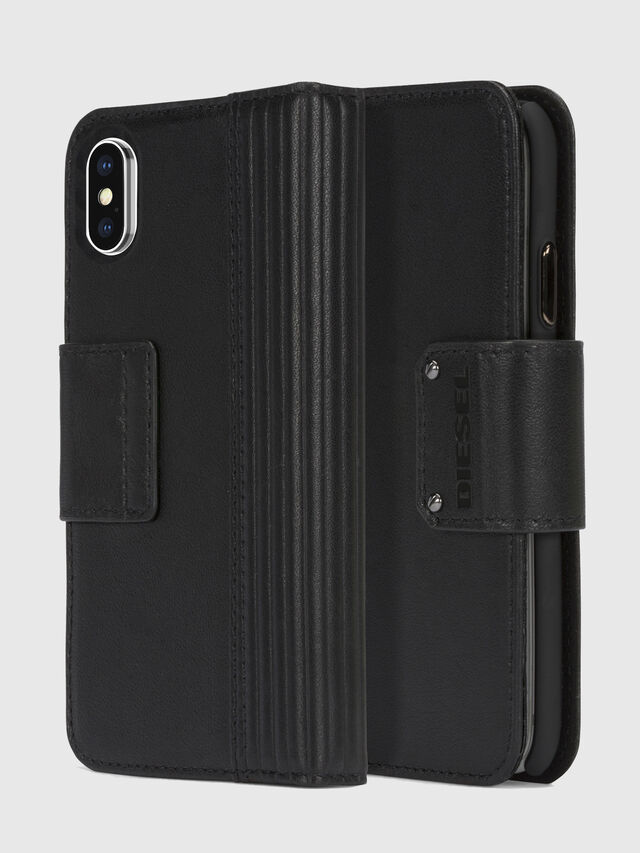 Diesel - BLACK LINED LEATHER IPHONE X FOLIO, Black - Flip covers - Image 1
