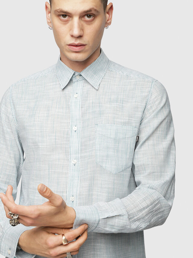 Diesel - S-STRYPED-NEW, Blue/White - Shirts - Image 4