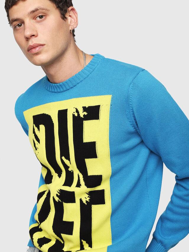 Diesel - K-MAXIS-A, Blue/Yellow - Knitwear - Image 3