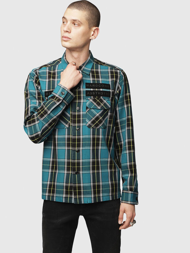 Diesel - S-TAKESHI, Blue/Green - Shirts - Image 1