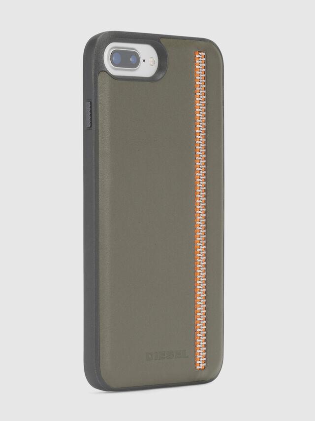 Diesel ZIP OLIVE LEATHER IPHONE 8 PLUS/7 PLUS/6s PLUS/6 PLUS CASE, Olive Green - Cases - Image 4