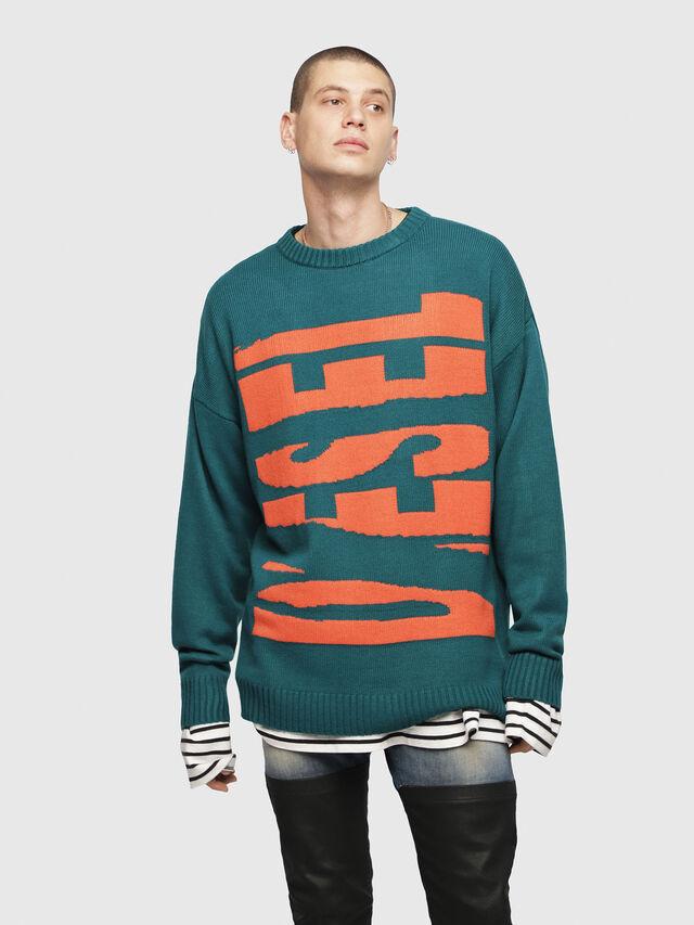 Diesel - K-LOGOX-A, Dark Green - Knitwear - Image 1