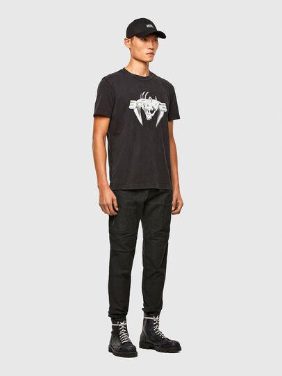 Diesel - T-DIEBIND-SLITS-A2, Black - T-Shirts - Image 5