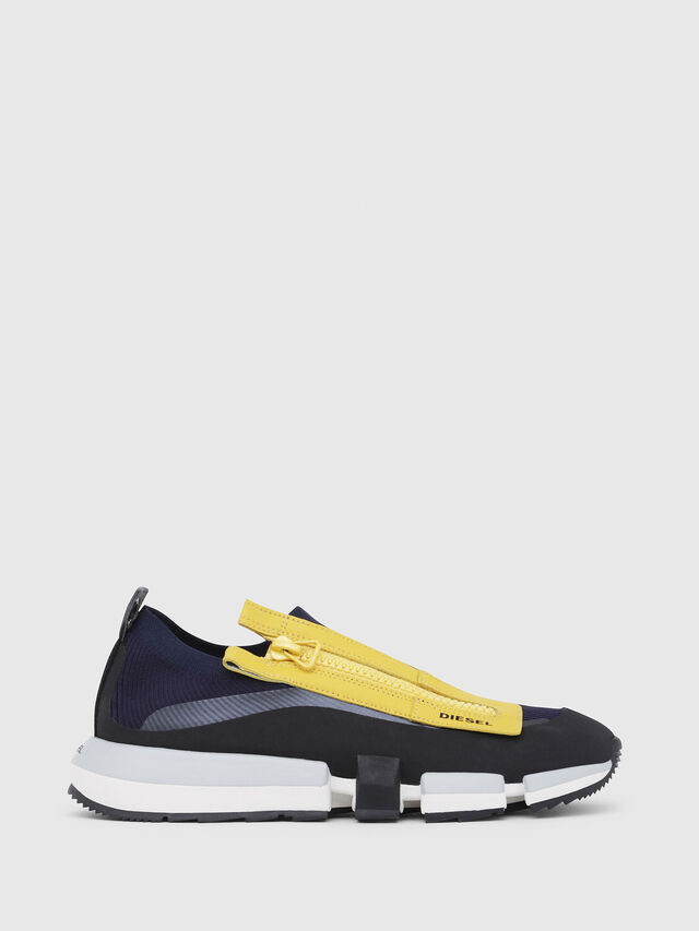 Diesel - H-PADOLA LOW ZIP, Blue/Yellow - Sneakers - Image 1