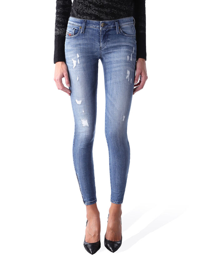 Diesel - Skinzee Low Zip 0847U, Medium blue - Jeans - Image 1