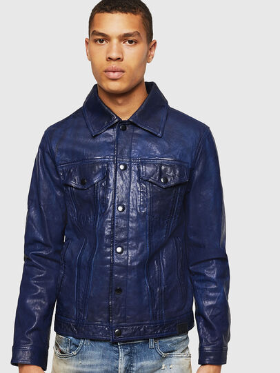 Diesel - L-NHILL, Blue - Leather jackets - Image 1