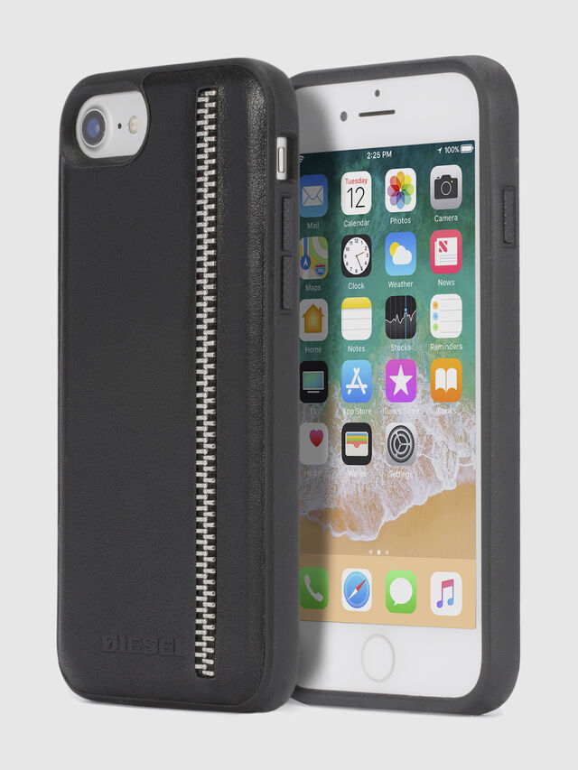 Diesel ZIP BLACK LEATHER IPHONE 8 PLUS/7 PLUS/6s PLUS/6 PLUS CASE, Black - Cases - Image 1