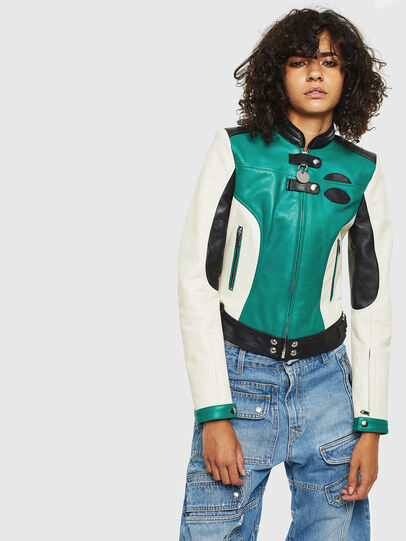 Diesel - L-ALLIE, White/Green - Leather jackets - Image 1