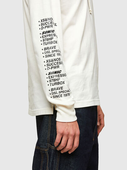 Diesel - T-JUST-LS-HOOD-SLITS, White - T-Shirts - Image 4