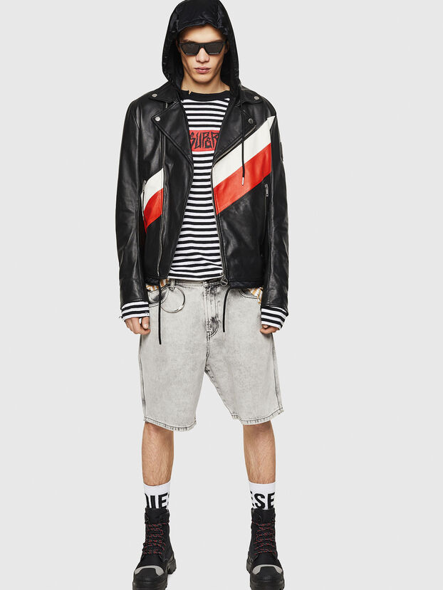 L-SOLOVE, Black/Red - Leather jackets
