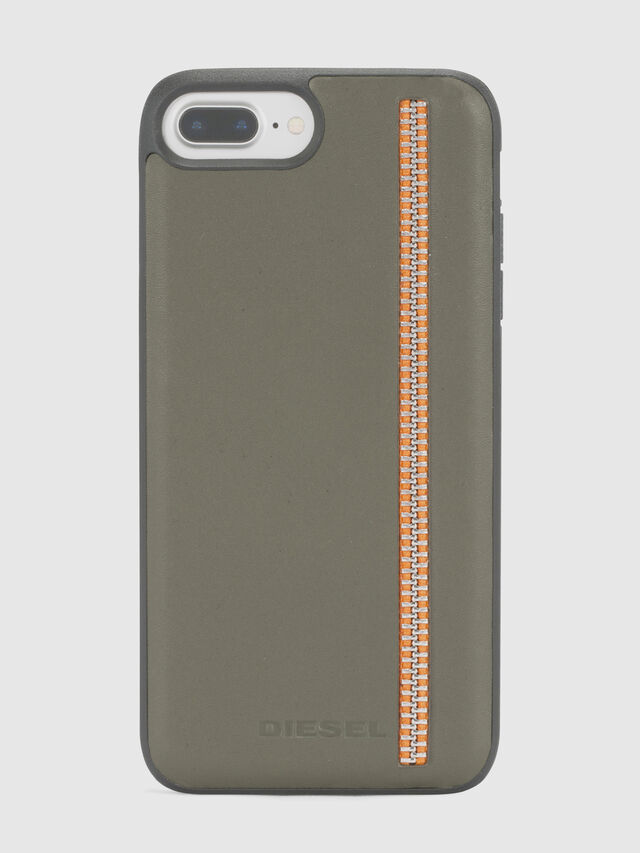 Diesel - ZIP OLIVE LEATHER IPHONE 8/7/6s/6 CASE, Olive Green - Cases - Image 2