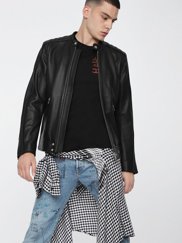 Diesel L-QUAD, Black Leather - Leather jackets - Image 1