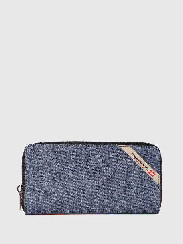 Diesel 24 ZIP, Blue Jeans - Zip-Round Wallets - Image 1