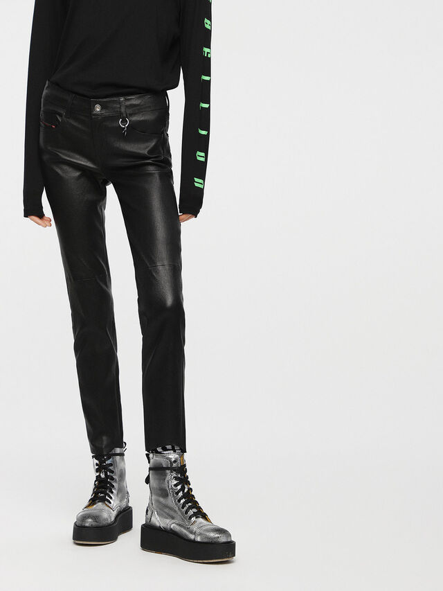 Diesel - L-TIME-A, Black Leather - Pants - Image 1