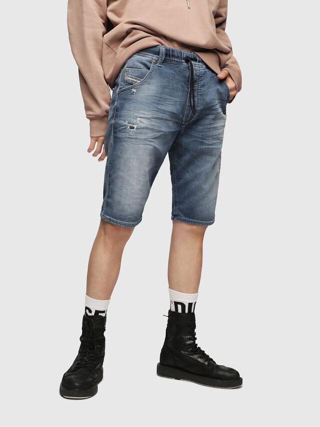 Diesel KROOSHORT JOGGJEANS, Light Blue - Shorts - Image 1