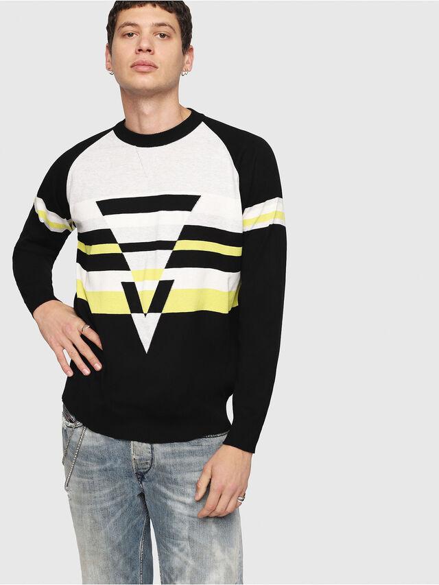Diesel - K-SHUFF, Black/White - Knitwear - Image 1