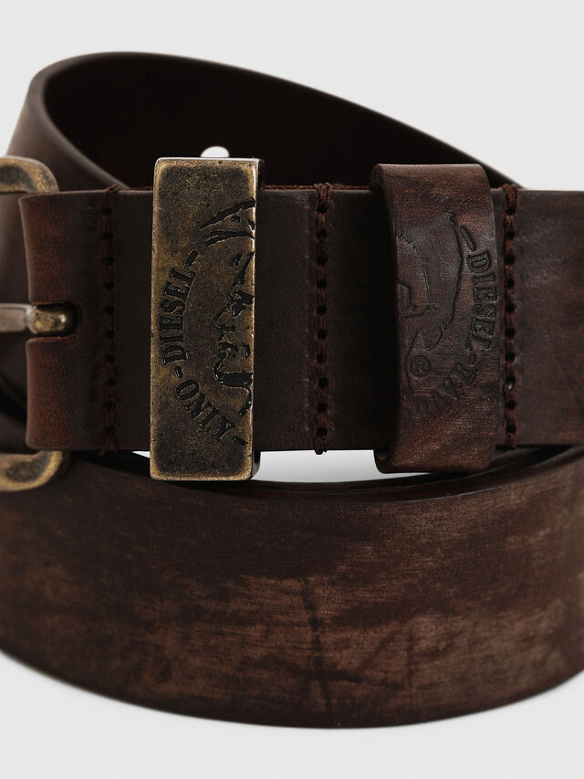 Diesel B-FRAG, Brown Leather - Belts - Image 2