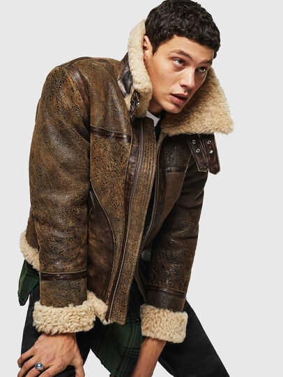 Diesel - L-BALASOVI, Brown - Leather jackets - Image 4