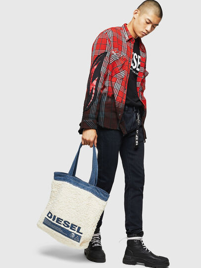 Diesel - F-THISBAG SHOPPER NS, White/Blue - Shopping and Shoulder Bags - Image 8