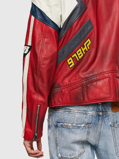 Diesel - L-POWER, White/Red - Leather jackets - Image 4