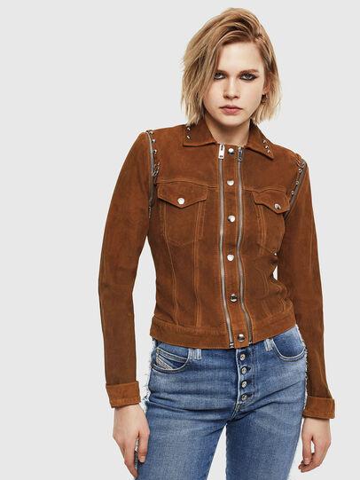 Diesel - L-TAHALI, Brown - Leather jackets - Image 1