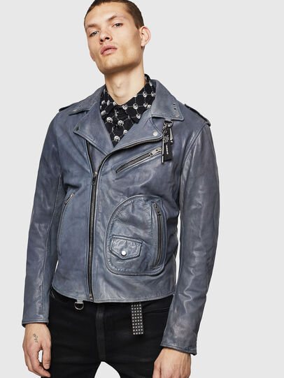 Diesel - L-KIOV, Blue - Leather jackets - Image 1