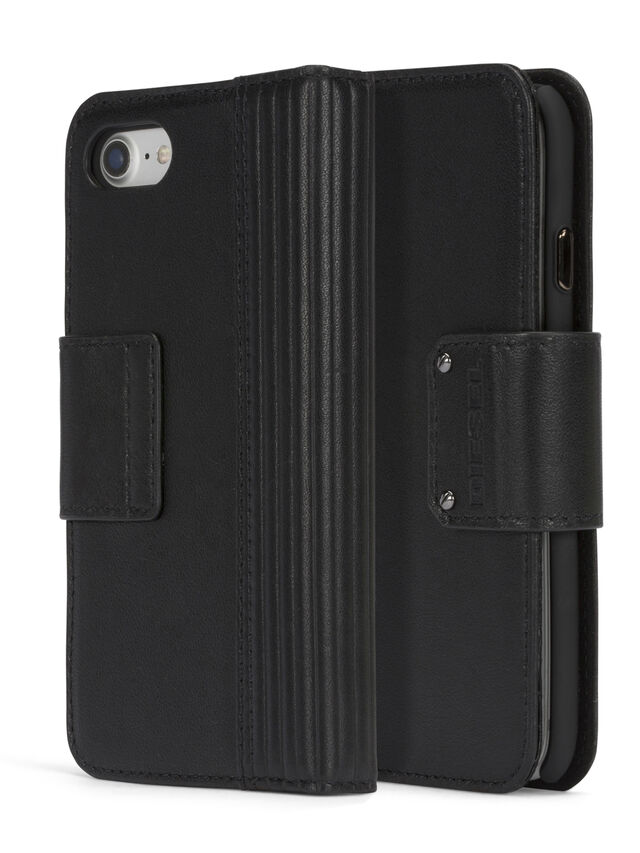 BLACK LINED LEATHER IPHONE 8 PLUS/7 PLUS FOLIO, Black