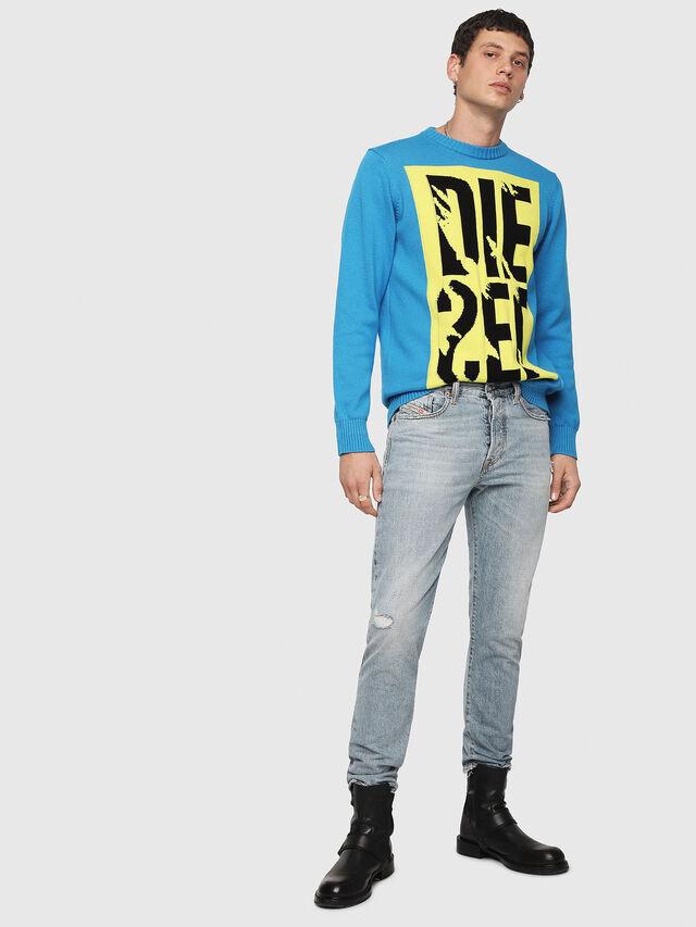 Diesel - K-MAXIS-A, Blue/Yellow - Knitwear - Image 4