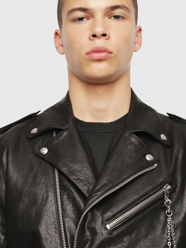 Diesel - SE-LEANDRO, Black Leather - Leather jackets - Image 5