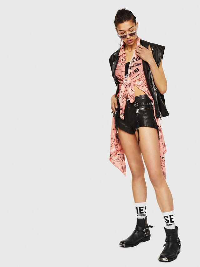 Diesel - L-LANEY, Black Leather - Shorts - Image 4